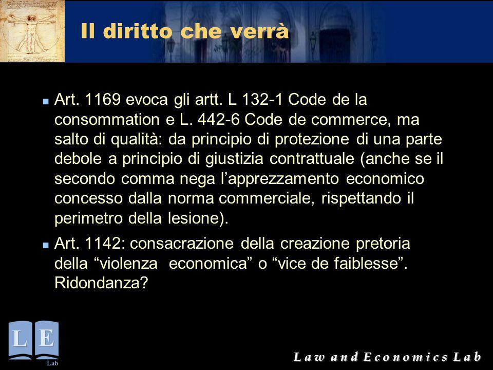 L a w a n d E c o n o m i c s L a b Il diritto che verrà Art. 1169 evoca gli artt. L 132-1 Code de la consommation e L. 442-6 Code de commerce, ma sal