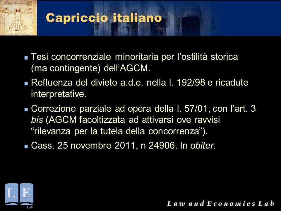 L a w a n d E c o n o m i c s L a b Capriccio italiano Tesi concorrenziale minoritaria per l'ostilità storica (ma contingente) dell'AGCM. Refluenza de