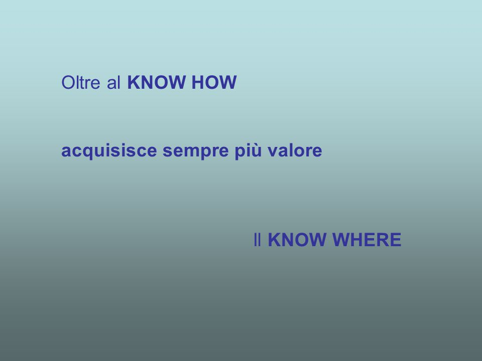 Oltre al KNOW HOW acquisisce sempre più valore Il KNOW WHERE