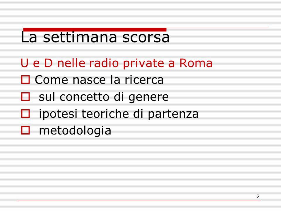 2 La settimana scorsa U e D nelle radio private a Roma  Come nasce la ricerca  sul concetto di genere  ipotesi teoriche di partenza  metodologia