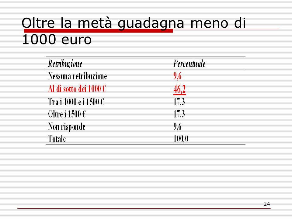 24 Oltre la metà guadagna meno di 1000 euro
