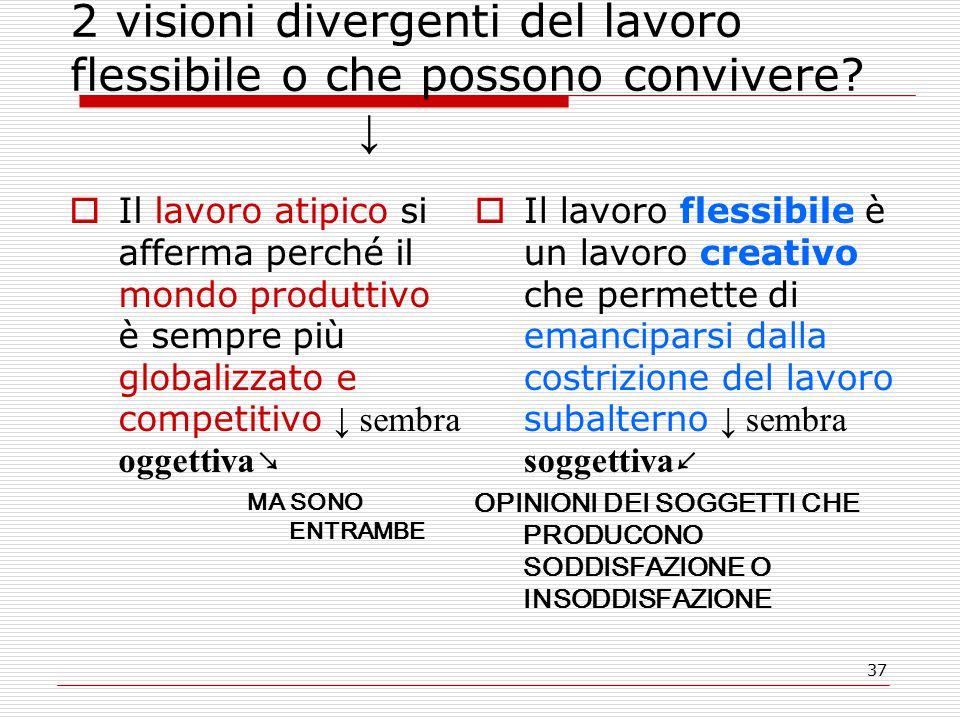37 2 visioni divergenti del lavoro flessibile o che possono convivere.