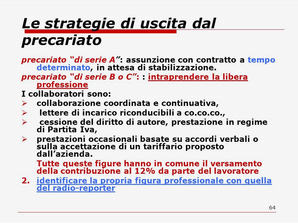 64 Le strategie di uscita dal precariato precariato di serie A : assunzione con contratto a tempo determinato, in attesa di stabilizzazione.