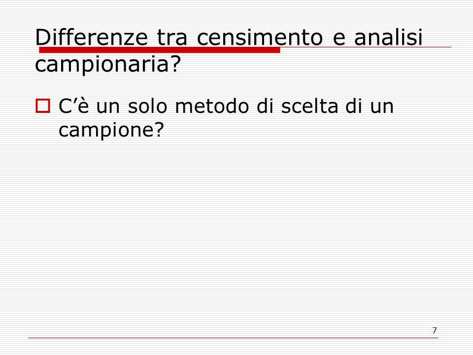 7 Differenze tra censimento e analisi campionaria?  C'è un solo metodo di scelta di un campione?