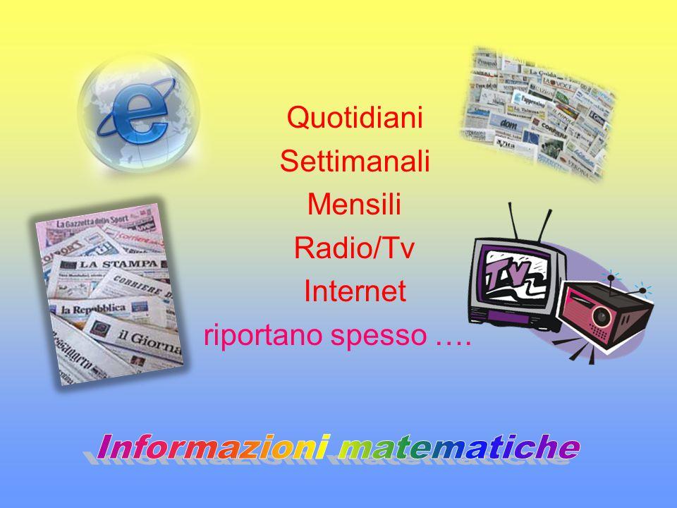 Quotidiani Settimanali Mensili Radio/Tv Internet riportano spesso ….