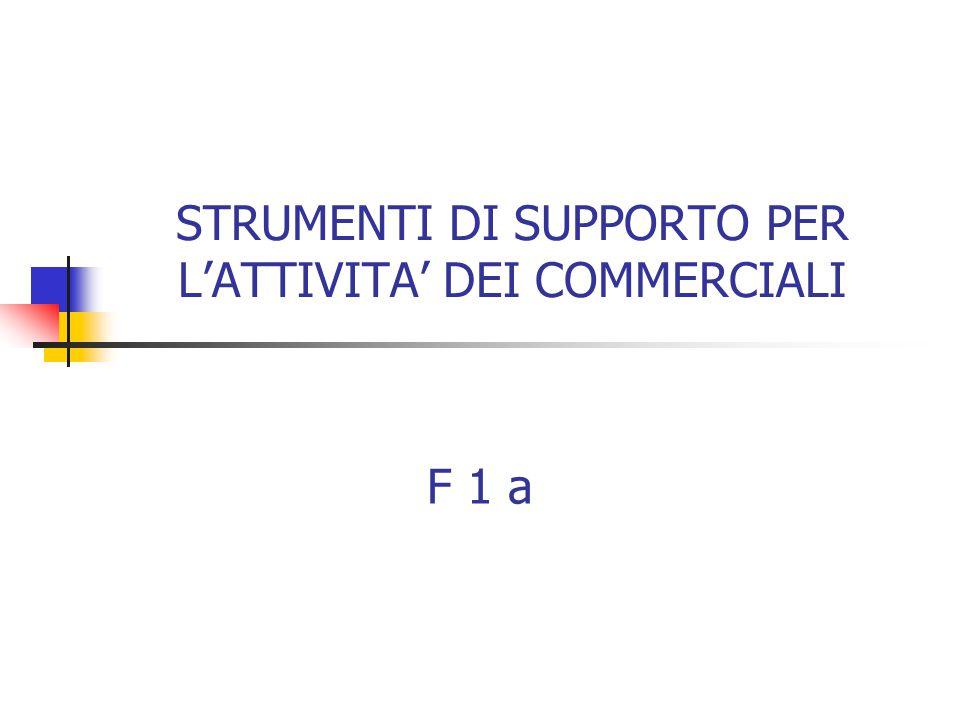 STRUMENTI DI SUPPORTO PER L'ATTIVITA' DEI COMMERCIALI F 1 a
