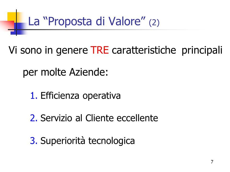 7 La Proposta di Valore (2) Vi sono in genere TRE caratteristiche principali per molte Aziende: 1.Efficienza operativa 2.Servizio al Cliente eccellente 3.Superiorità tecnologica