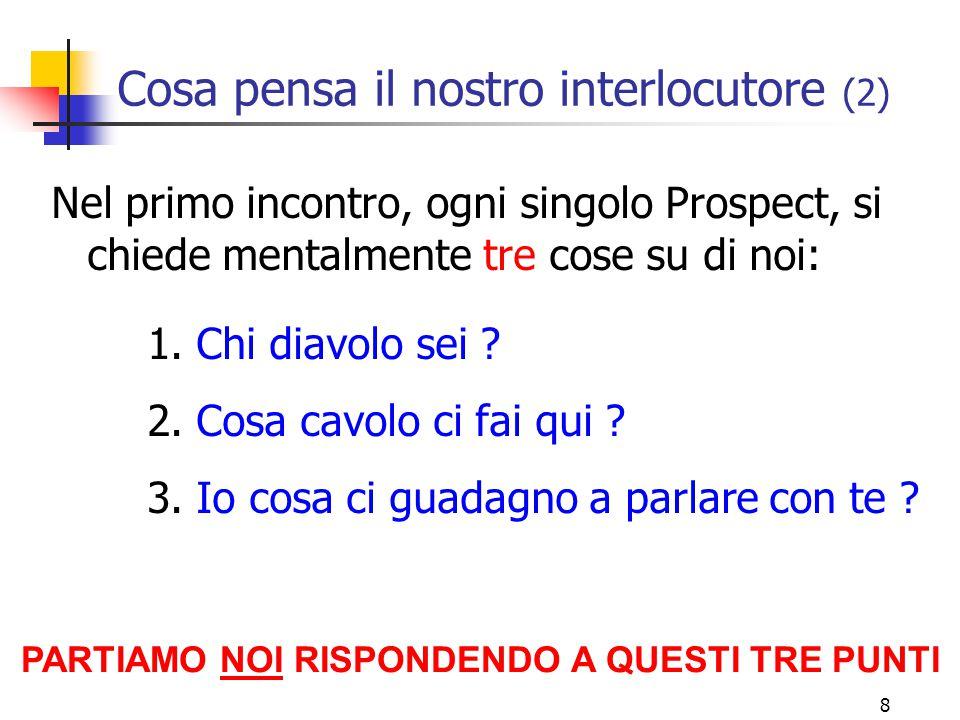 8 Cosa pensa il nostro interlocutore (2) Nel primo incontro, ogni singolo Prospect, si chiede mentalmente tre cose su di noi: 1.