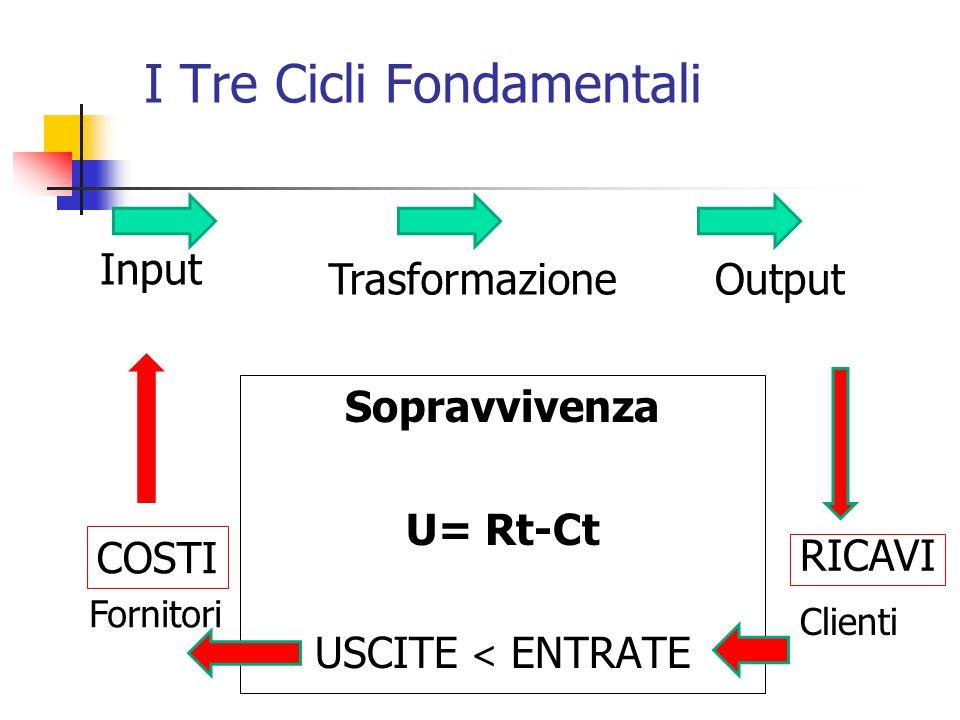 I Tre Cicli Fondamentali Sopravvivenza U= Rt-Ct USCITE < ENTRATE Input Output Fornitori Clienti COSTI RICAVI Trasformazione