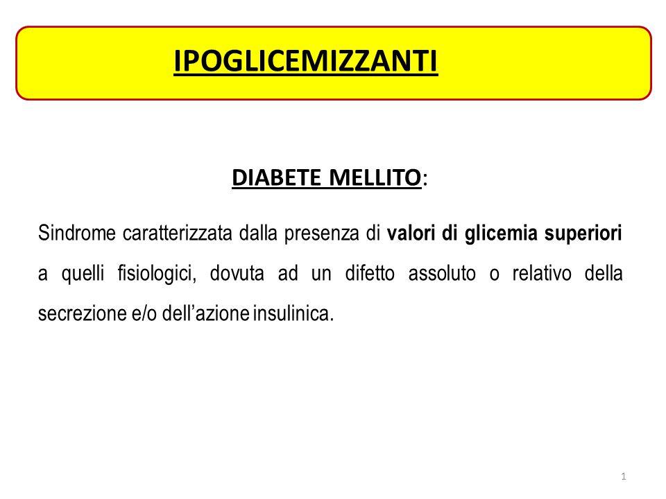 IPOGLICEMIZZANTI DIABETE MELLITO: Sindrome caratterizzata dalla presenza di valori di glicemia superiori a quelli fisiologici, dovuta ad un difetto as