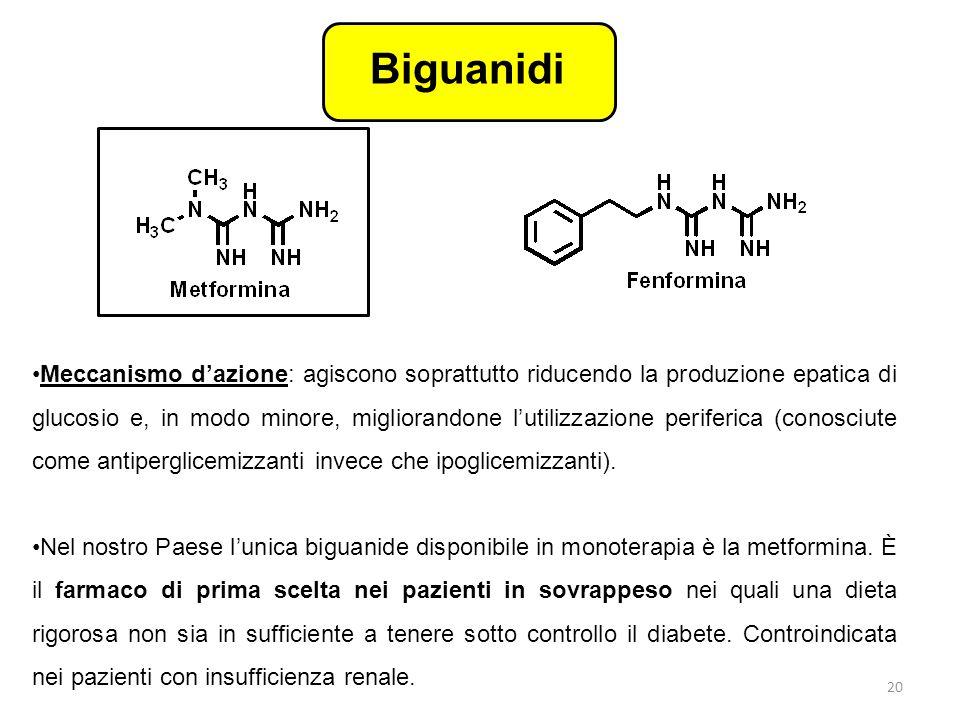 Biguanidi Meccanismo d'azione: agiscono soprattutto riducendo la produzione epatica di glucosio e, in modo minore, migliorandone l'utilizzazione perif