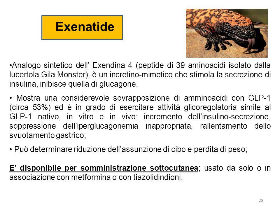 Exenatide Analogo sintetico dell' Exendina 4 (peptide di 39 aminoacidi isolato dalla lucertola Gila Monster), è un incretino-mimetico che stimola la s