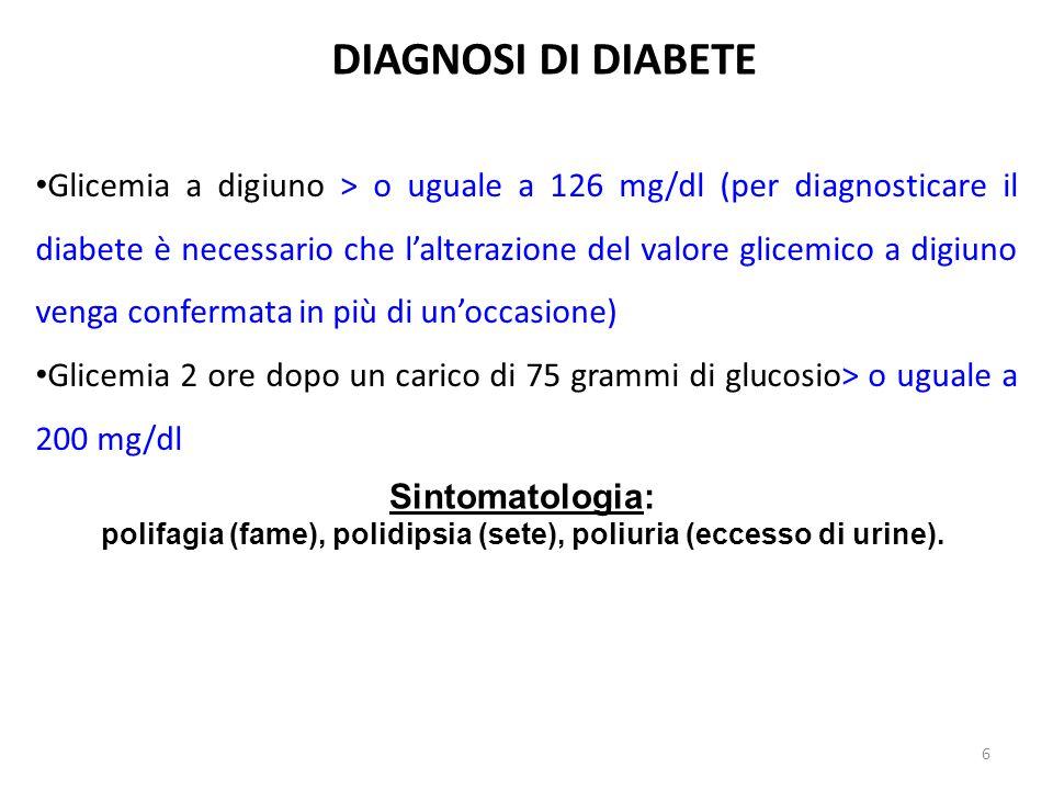 Glicemia a digiuno > o uguale a 126 mg/dl (per diagnosticare il diabete è necessario che l'alterazione del valore glicemico a digiuno venga confermata