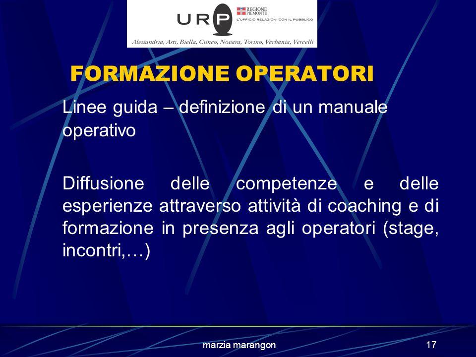 marzia marangon17 FORMAZIONE OPERATORI Linee guida – definizione di un manuale operativo Diffusione delle competenze e delle esperienze attraverso attività di coaching e di formazione in presenza agli operatori (stage, incontri,…)