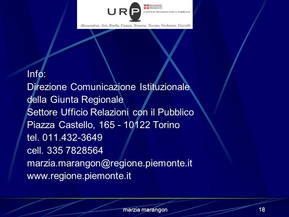 marzia marangon18 Info: Direzione Comunicazione Istituzionale della Giunta Regionale Settore Ufficio Relazioni con il Pubblico Piazza Castello, 165 - 10122 Torino tel.