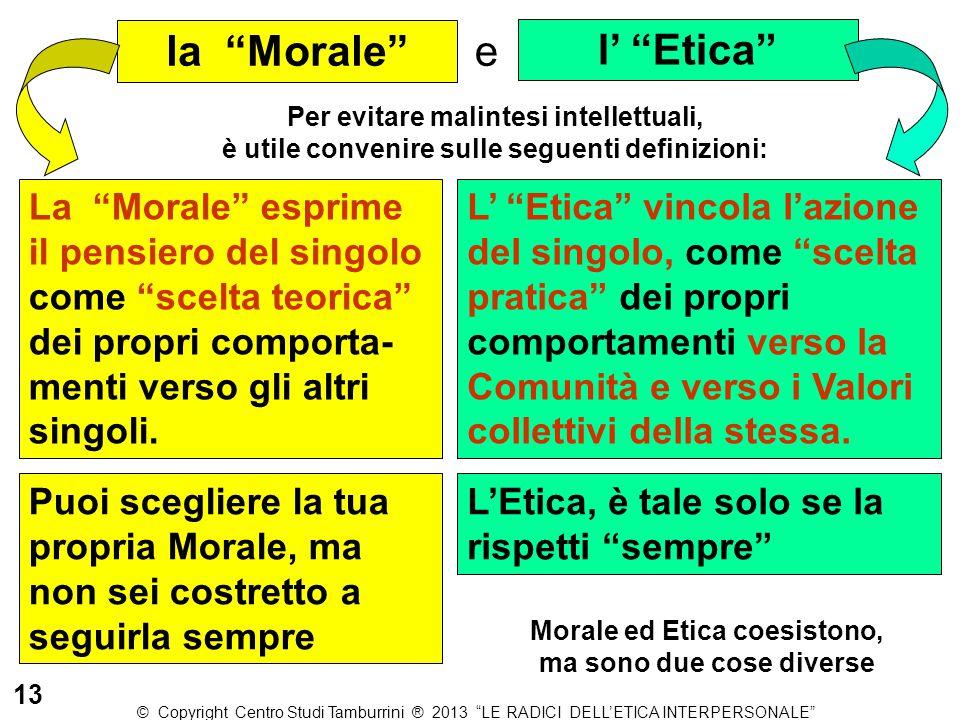 """Per evitare malintesi intellettuali, è utile convenire sulle seguenti definizioni: l' """"Etica"""" e la """"Morale"""" La """"Morale"""" esprime il pensiero del singol"""