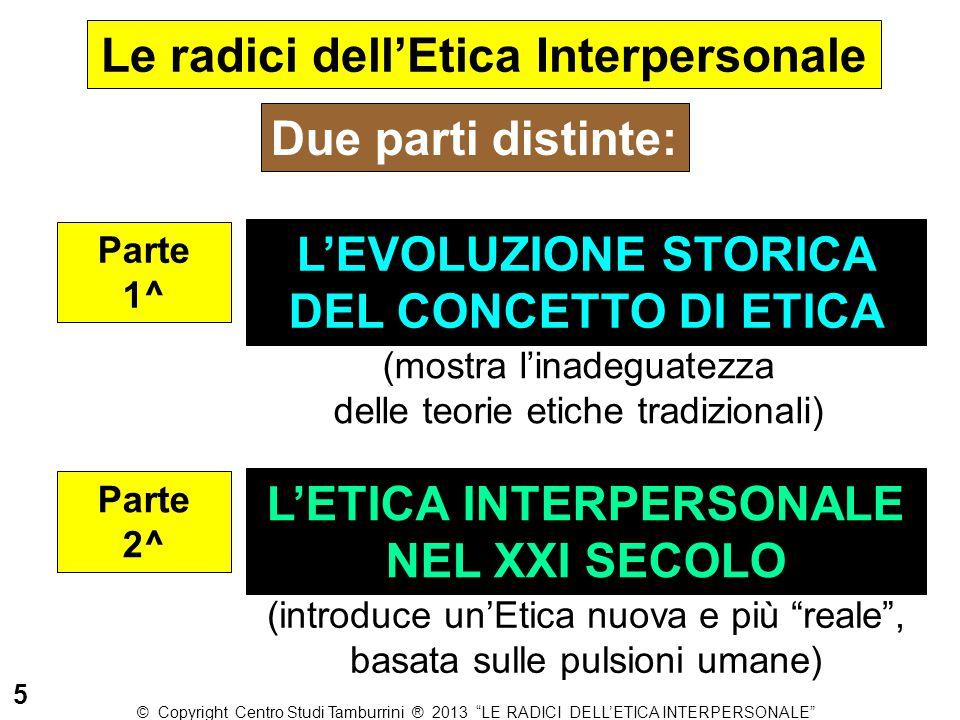 L'EVOLUZIONE STORICA DEL CONCETTO DI ETICA Parte 1^ Due parti distinte: L'ETICA INTERPERSONALE NEL XXI SECOLO Parte 2^ (mostra l'inadeguatezza delle t