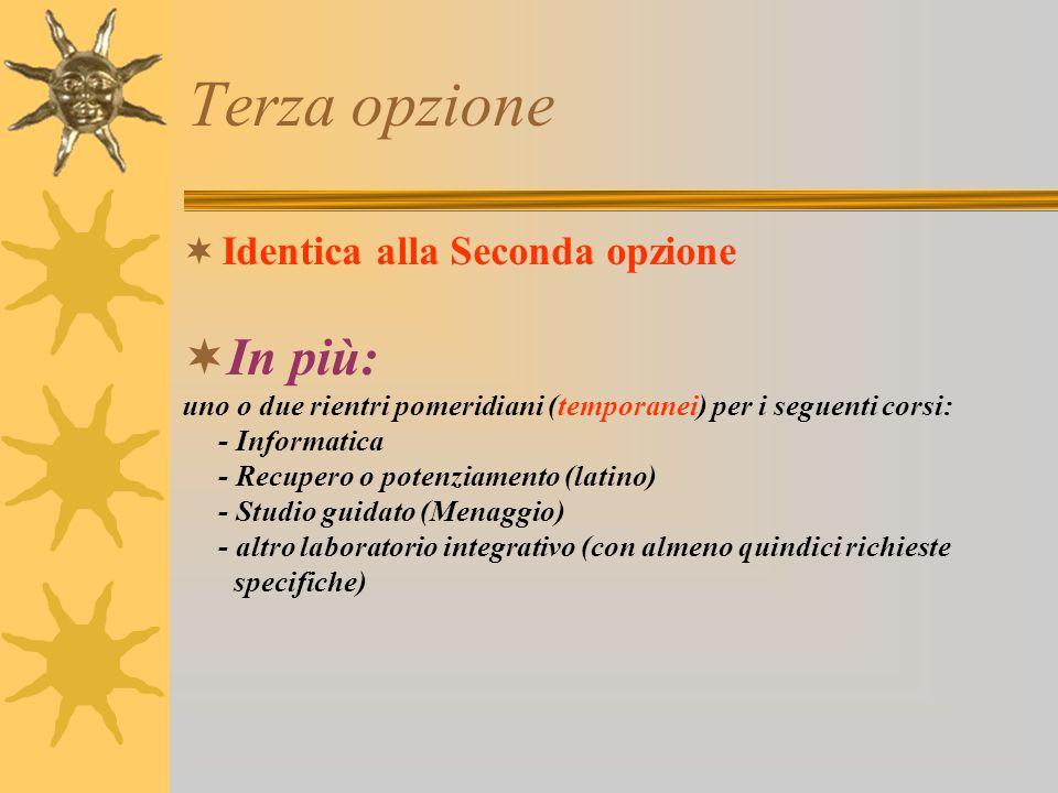 Seconda opzione Italiano 231 St. e Geog. 132 Mat. Scienze 198 Tecnologia 66 Inglese 66 Francese 66 Arte. 66 Musica. 66 Ed. motoria 66 Rel. 33 tot. 30