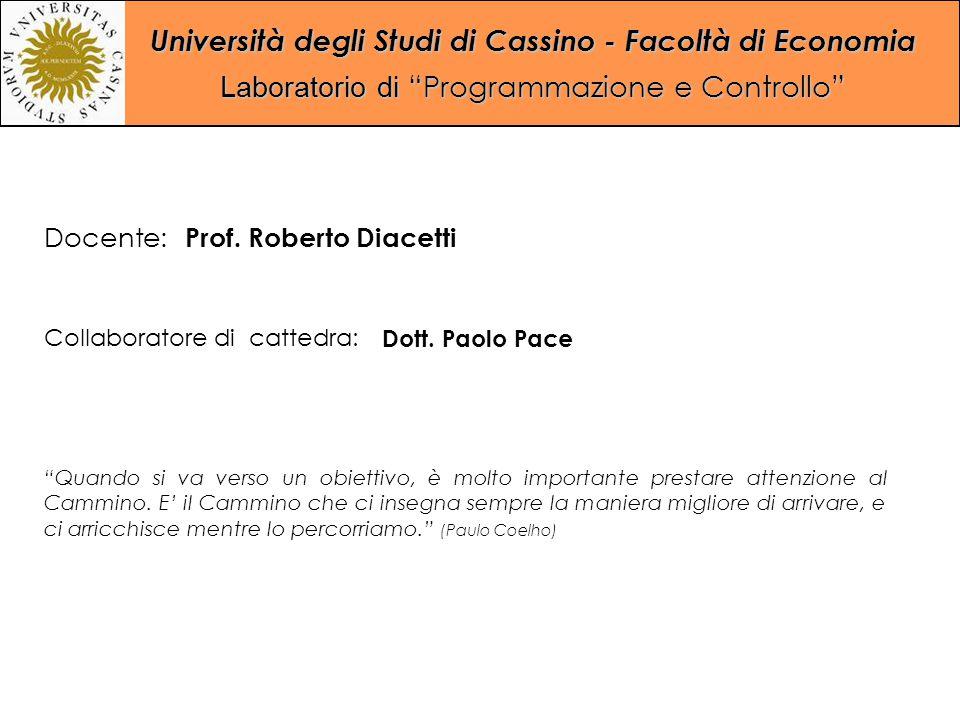 """Università degli Studi di Cassino - Facoltà di Economia Laboratorio di """"Programmazione e Controllo"""" Collaboratore di cattedra: Dott. Paolo Pace Docent"""
