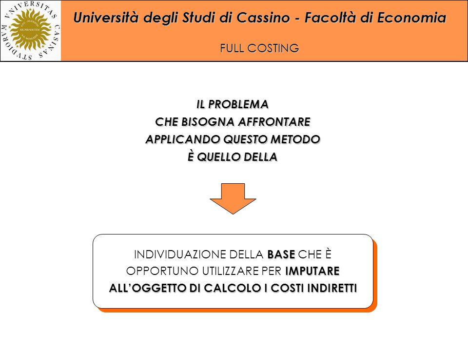 Università degli Studi di Cassino - Facoltà di Economia FULL COSTING BASE IMPUTARE ALL'OGGETTO DI CALCOLO I COSTI INDIRETTI INDIVIDUAZIONE DELLA BASE