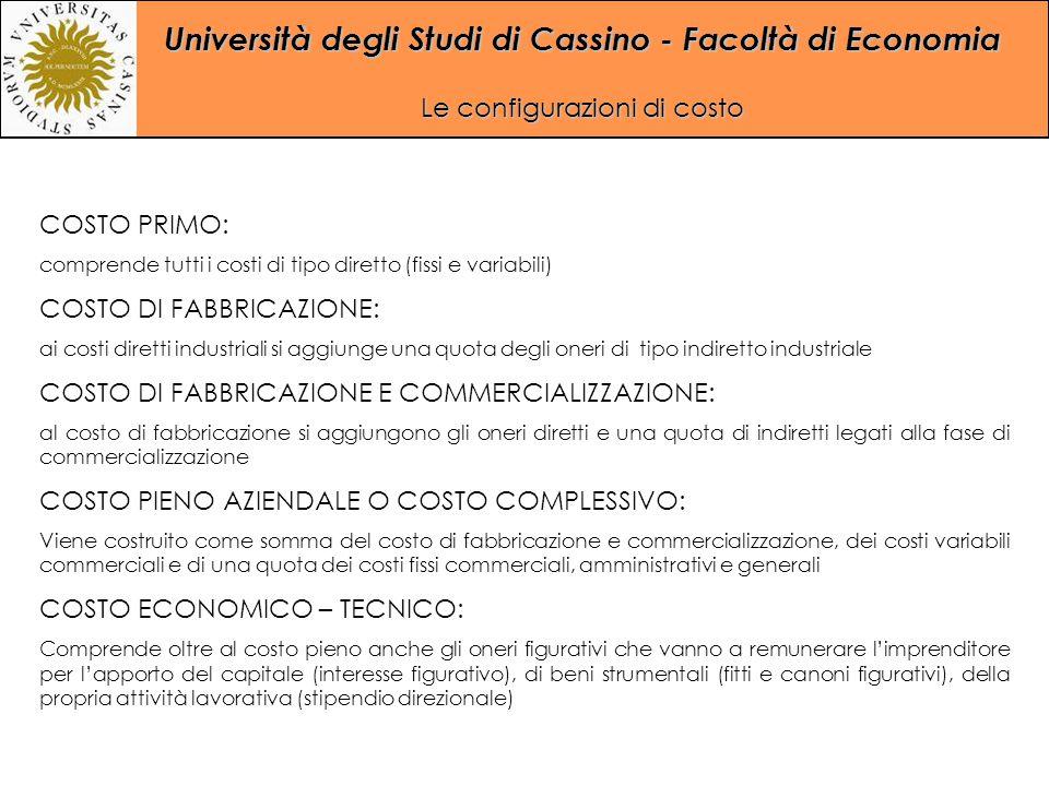 Università degli Studi di Cassino - Facoltà di Economia Le configurazioni di costo COSTO PRIMO: comprende tutti i costi di tipo diretto (fissi e varia