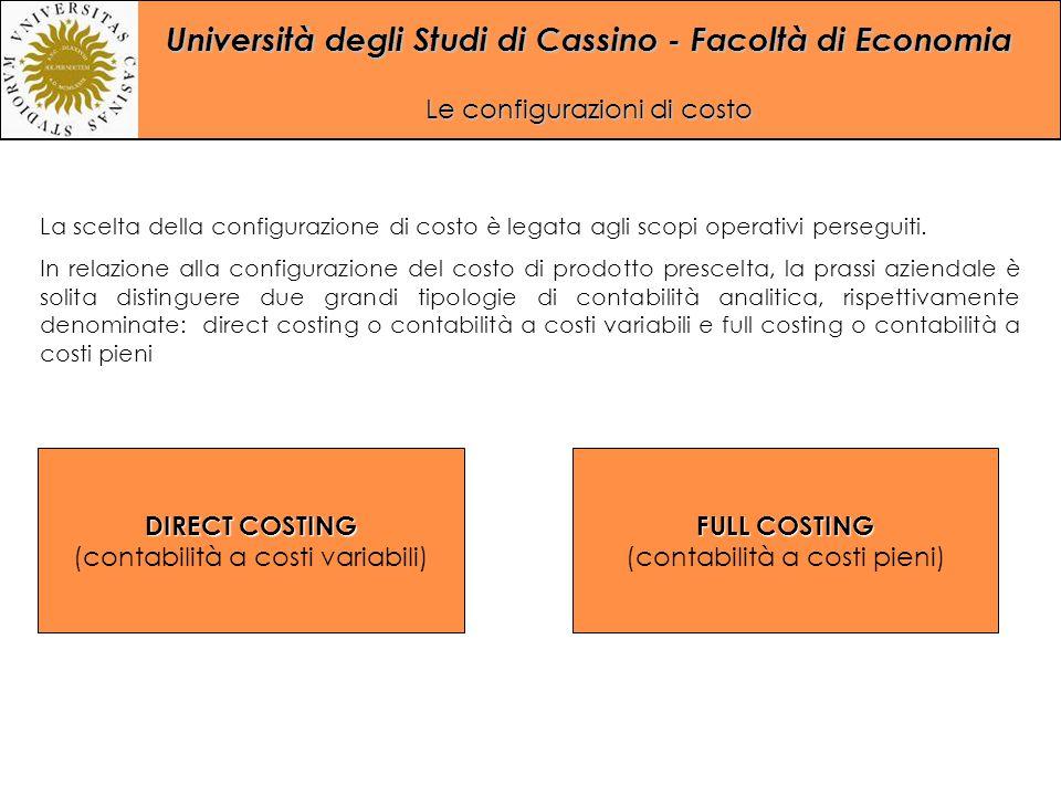 Università degli Studi di Cassino - Facoltà di Economia Le configurazioni di costo La scelta della configurazione di costo è legata agli scopi operati