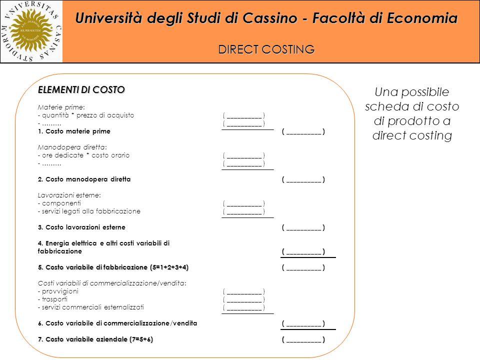 Università degli Studi di Cassino - Facoltà di Economia DIRECT COSTING ELEMENTI DI COSTO Materie prime: - quantità * prezzo di acquisto - ……… 1. Costo