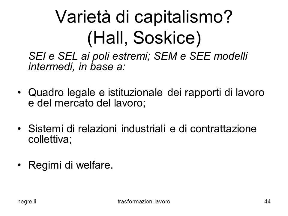 negrellitrasformazioni lavoro44 Varietà di capitalismo.