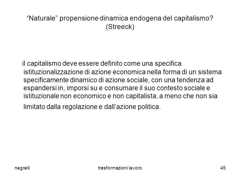 negrellitrasformazioni lavoro45 Naturale propensione dinamica endogena del capitalismo.