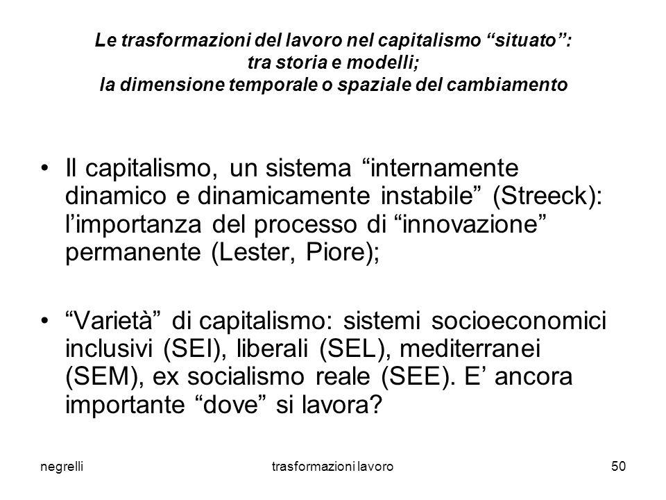 negrellitrasformazioni lavoro50 Le trasformazioni del lavoro nel capitalismo situato : tra storia e modelli; la dimensione temporale o spaziale del cambiamento Il capitalismo, un sistema internamente dinamico e dinamicamente instabile (Streeck): l'importanza del processo di innovazione permanente (Lester, Piore); Varietà di capitalismo: sistemi socioeconomici inclusivi (SEI), liberali (SEL), mediterranei (SEM), ex socialismo reale (SEE).