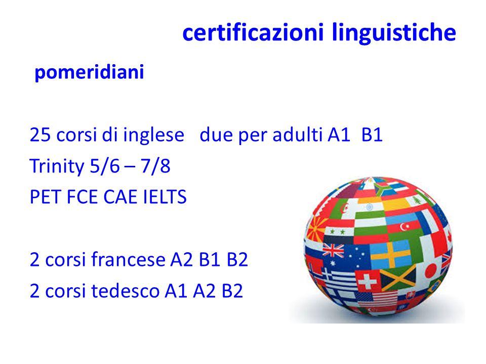 certificazioni linguistiche pomeridiani 25 corsi di inglese due per adulti A1 B1 Trinity 5/6 – 7/8 PET FCE CAE IELTS 2 corsi francese A2 B1 B2 2 corsi tedesco A1 A2 B2