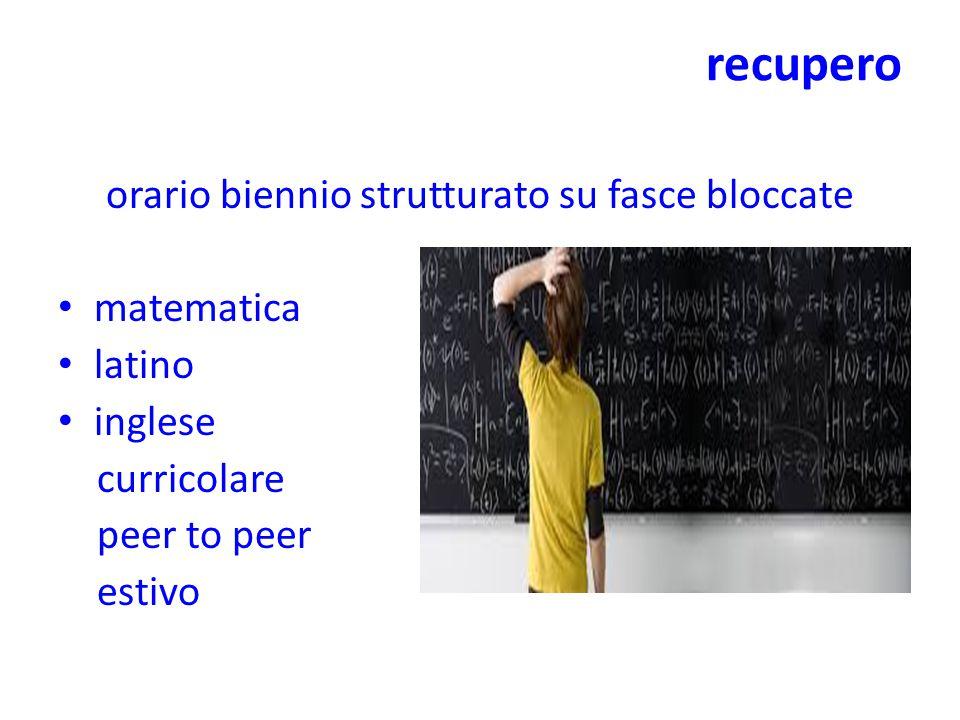 recupero orario biennio strutturato su fasce bloccate matematica latino inglese curricolare peer to peer estivo