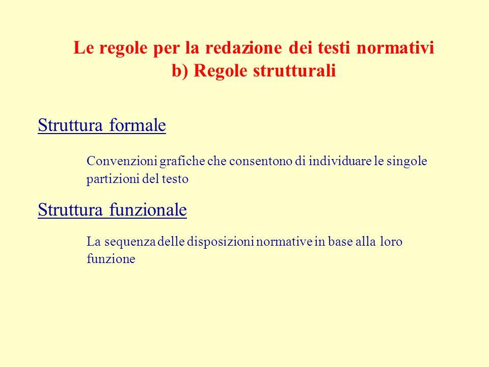 Le regole per la redazione dei testi normativi b) Regole strutturali Struttura formale Convenzioni grafiche che consentono di individuare le singole partizioni del testo Struttura funzionale La sequenza delle disposizioni normative in base alla loro funzione