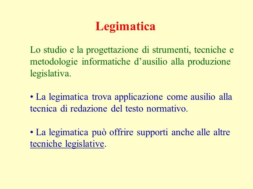 Legimatica Lo studio e la progettazione di strumenti, tecniche e metodologie informatiche d'ausilio alla produzione legislativa.