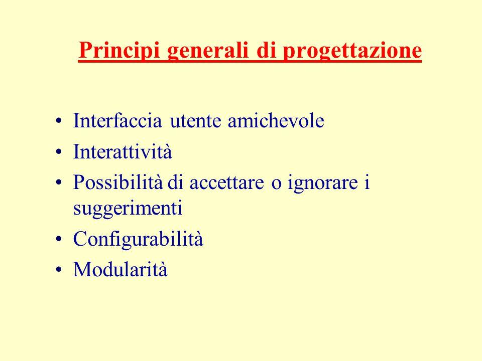 Principi generali di progettazione Interfaccia utente amichevole Interattività Possibilità di accettare o ignorare i suggerimenti Configurabilità Modularità