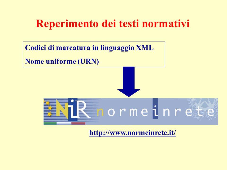 Reperimento dei testi normativi Codici di marcatura in linguaggio XML Nome uniforme (URN) http://www.normeinrete.it/