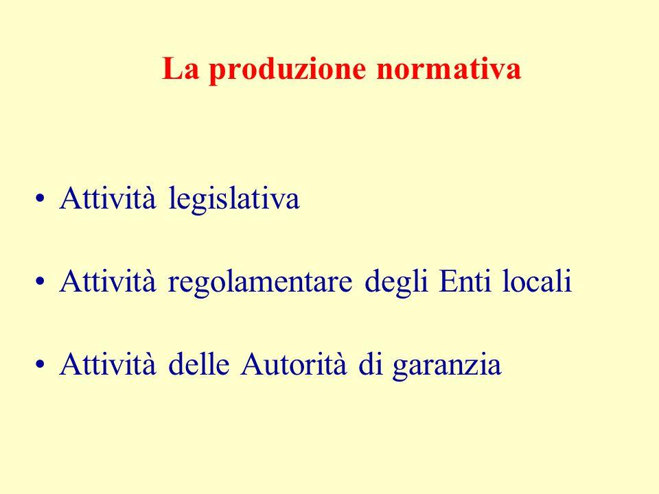 La produzione normativa Limiti Moltiplicarsi degli organi forniti della potestà normativa In Italia l'attività legislativa non soggetta a regole per molti anni (assenza di vincoli politico-giuridici e assenza di vincoli tecnici) linguaggio oscuro assenza di coordinamento tra le varie leggi
