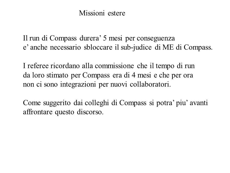 Missioni estere Il run di Compass durera' 5 mesi per conseguenza e' anche necessario sbloccare il sub-judice di ME di Compass.