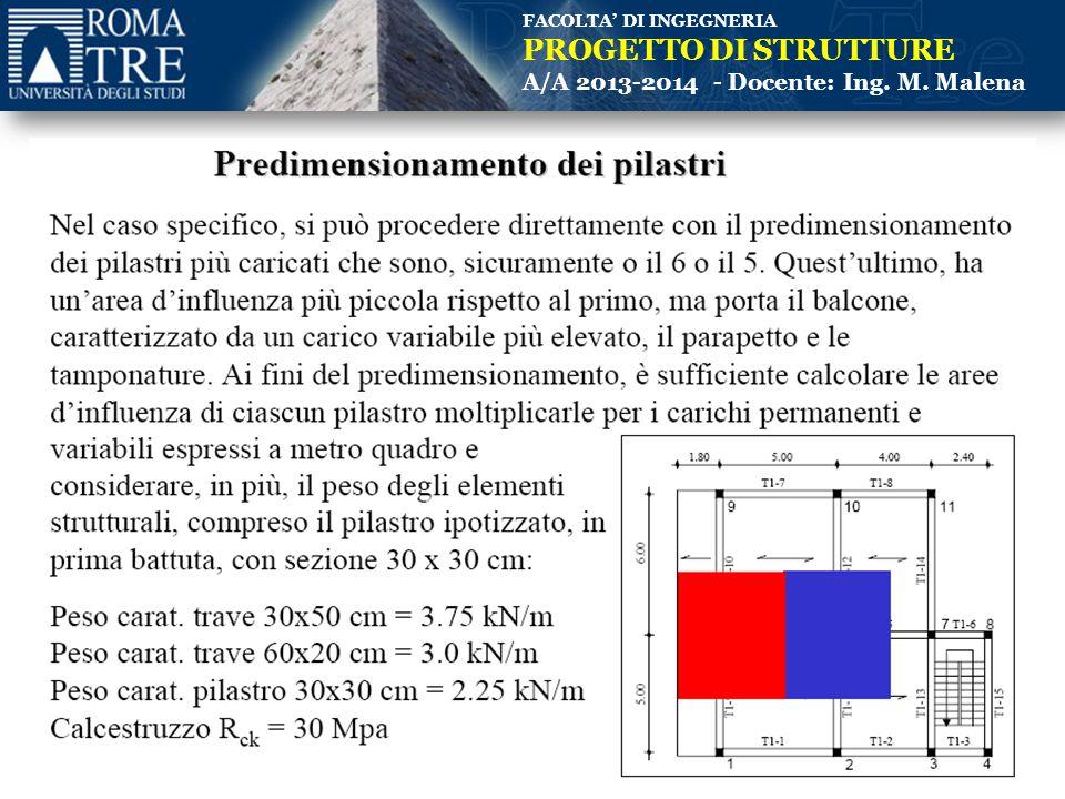 FACOLTA' DI INGEGNERIA PROGETTO DI STRUTTURE A/A 2013-2014 - Docente: Ing. M. Malena