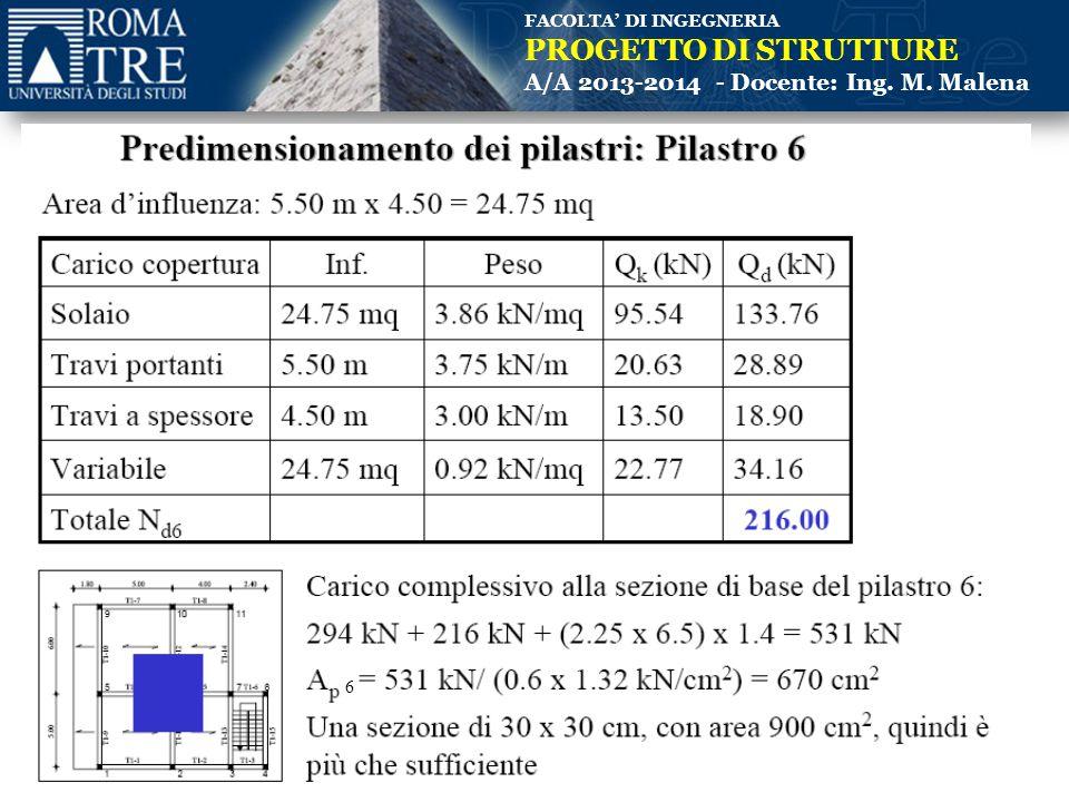 FACOLTA' DI INGEGNERIA PROGETTO DI STRUTTURE A/A 2013-2014 - Docente: Ing. M. Malena (Copertura) 6
