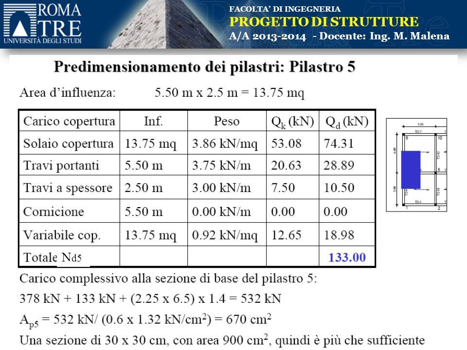 FACOLTA' DI INGEGNERIA PROGETTO DI STRUTTURE A/A 2013-2014 - Docente: Ing. M. Malena N d5