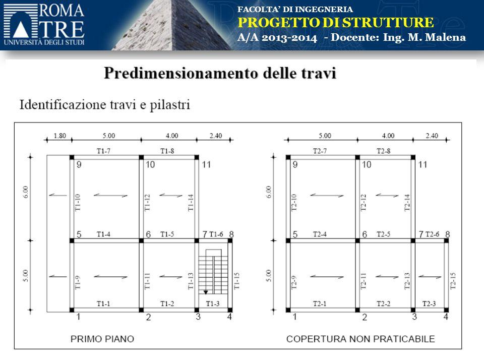 FACOLTA' DI INGEGNERIA PROGETTO DI STRUTTURE A/A 2013-2014 - Docente: Ing. M. Malena (Piano primo)