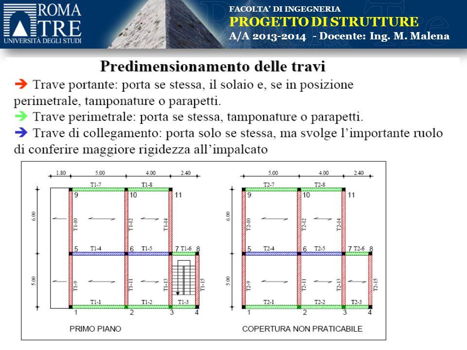 FACOLTA' DI INGEGNERIA PROGETTO DI STRUTTURE A/A 2013-2014 - Docente: Ing. M. Malena 25 e