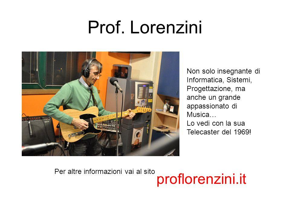 Prof. Lorenzini Per altre informazioni vai al sito proflorenzini.it Non solo insegnante di Informatica, Sistemi, Progettazione, ma anche un grande app