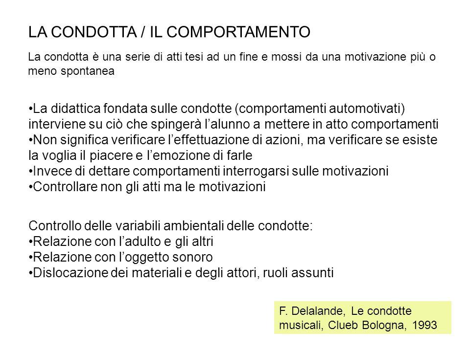 LA CONDOTTA / IL COMPORTAMENTO La didattica fondata sulle condotte (comportamenti automotivati) interviene su ciò che spingerà l'alunno a mettere in a