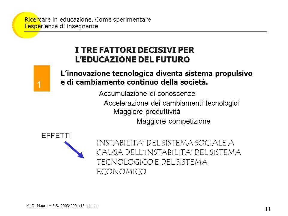 11 L'innovazione tecnologica diventa sistema propulsivo e di cambiamento continuo della società.