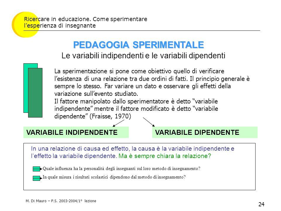 24 Ricercare in educazione. Come sperimentare l'esperienza di insegnante Le variabili indipendenti e le variabili dipendenti VARIABILE INDIPENDENTE PE