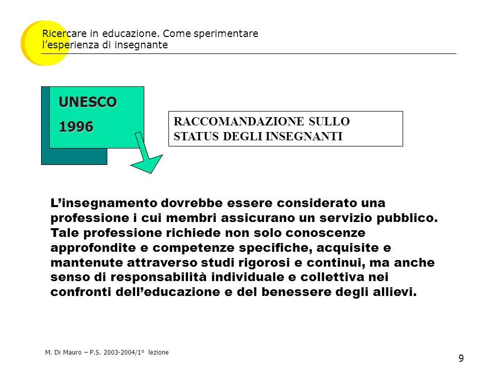 9 UNESCO1996 Ricercare in educazione. Come sperimentare l'esperienza di insegnante L'insegnamento dovrebbe essere considerato una professione i cui me