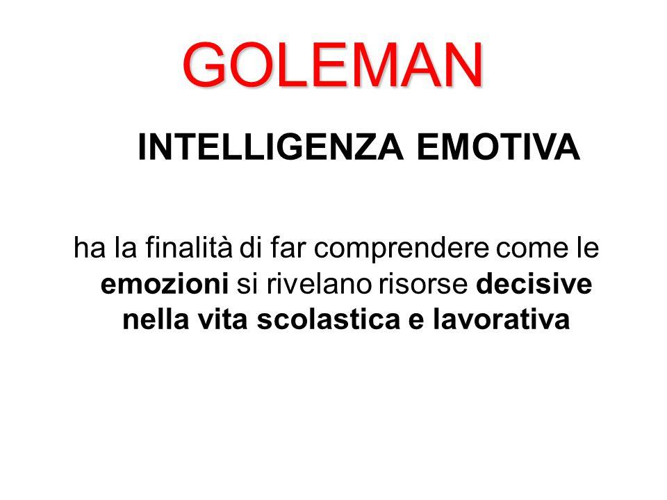 GOLEMAN INTELLIGENZA EMOTIVA ha la finalità di far comprendere come le emozioni si rivelano risorse decisive nella vita scolastica e lavorativa