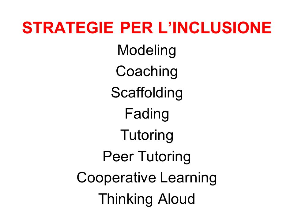 STRATEGIE PER L'INCLUSIONE Modeling Coaching Scaffolding Fading Tutoring Peer Tutoring Cooperative Learning Thinking Aloud